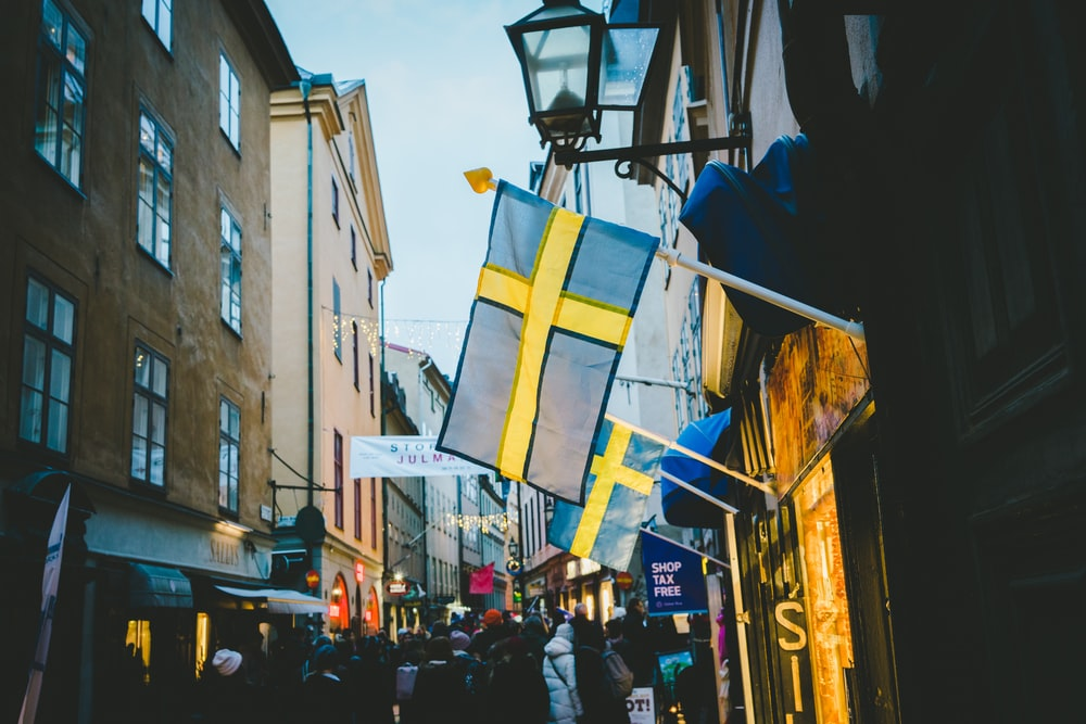 flag of Sweden on wall