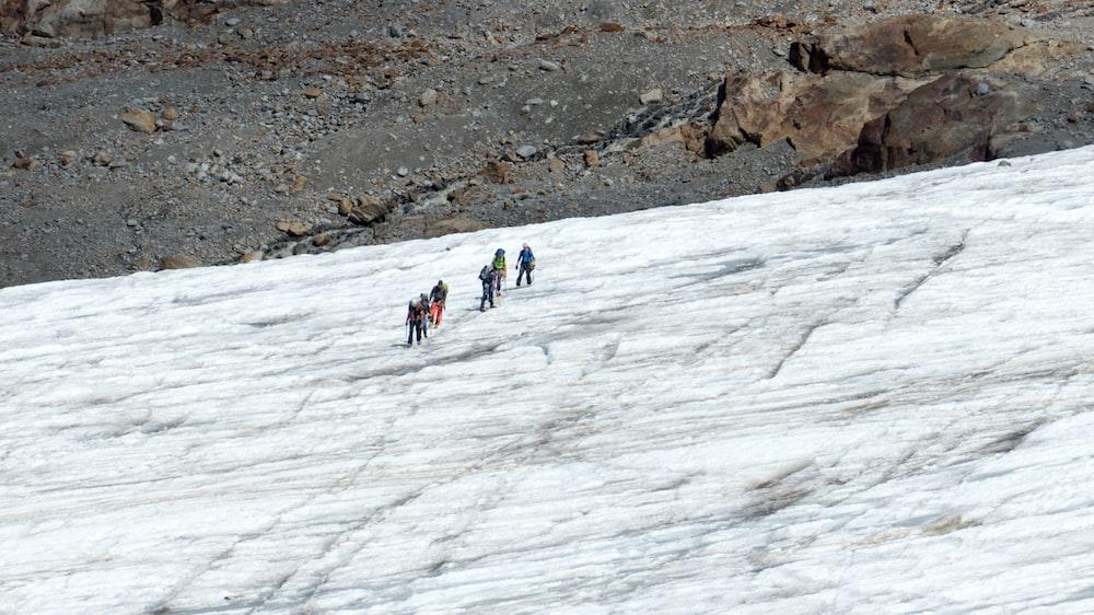 people walking on hill