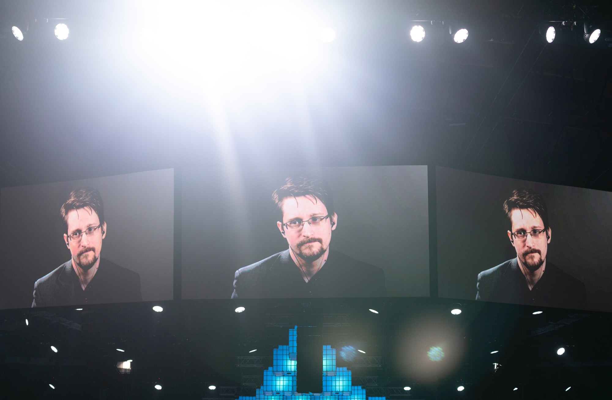 Whistleblower Edward Snowden talking about the National Security Agency (NSA), the Central Intelligence Agency (CIA), global surveillance programs, safety, spying, journalism, national security, GDPR and individual privacy at Websummit 2019 in Lisbon, Portugal.