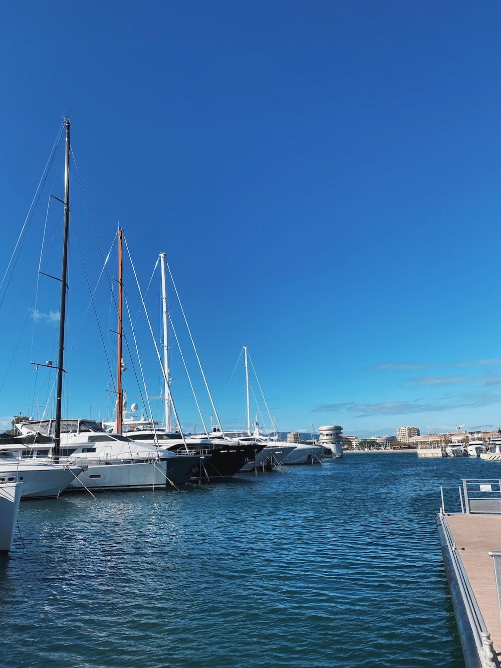 white yacht under blue sky