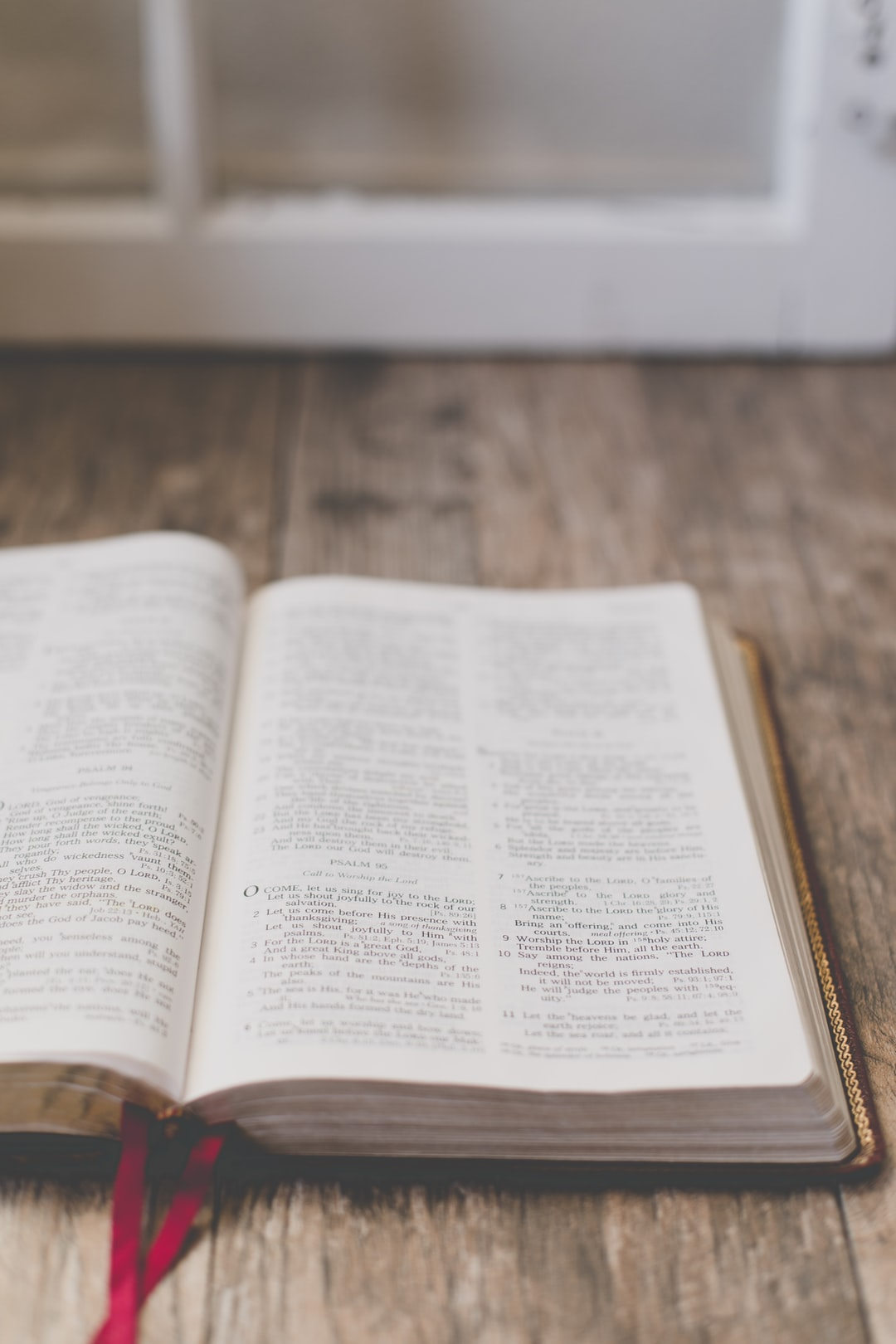 Open Bible on table top
