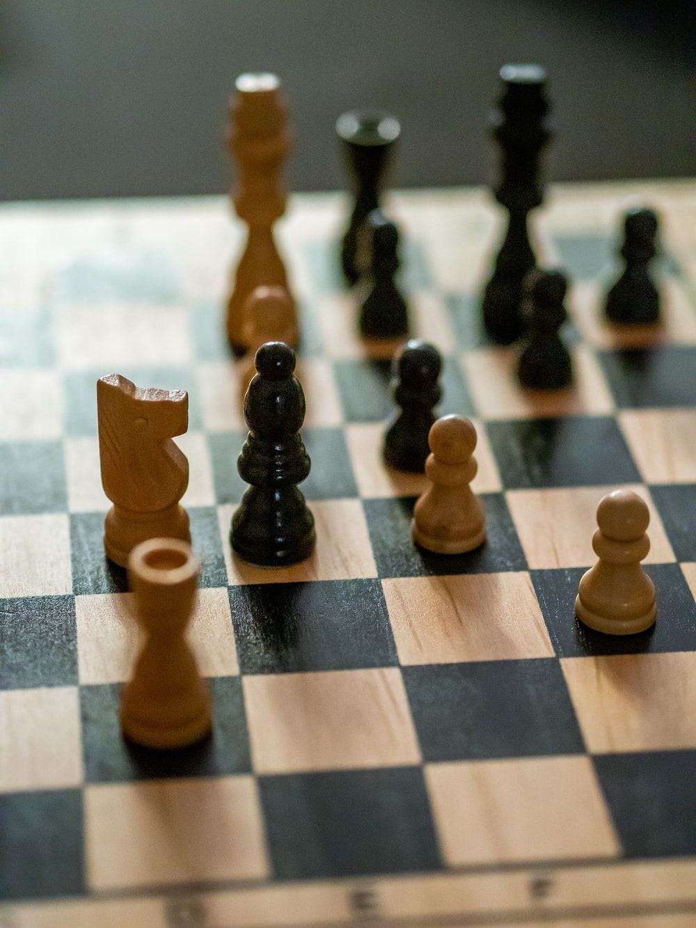 brown and black chess game set