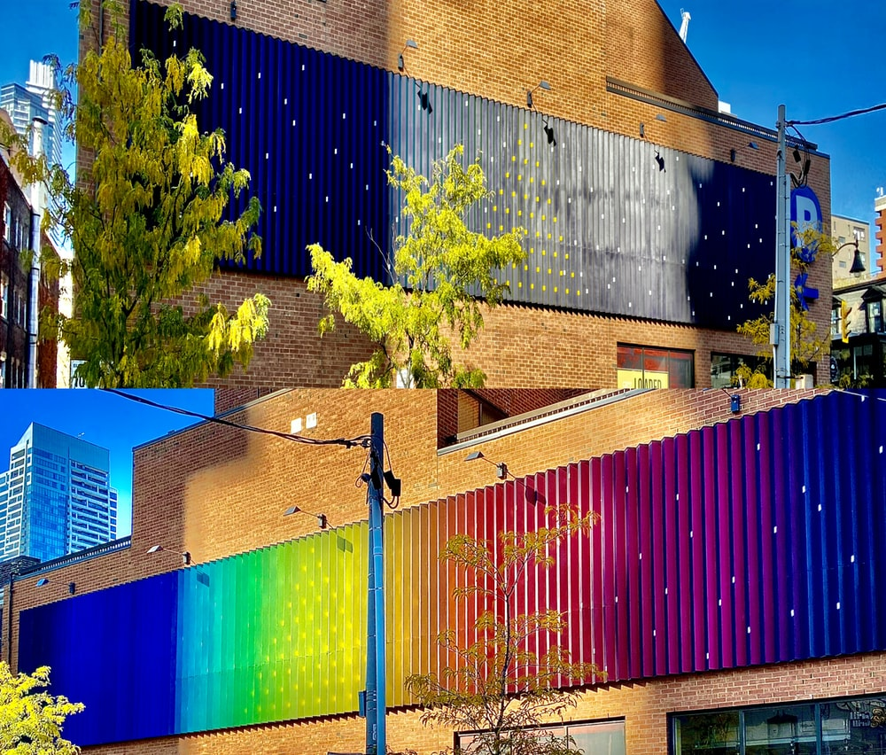 multicolored buildings near trees collage