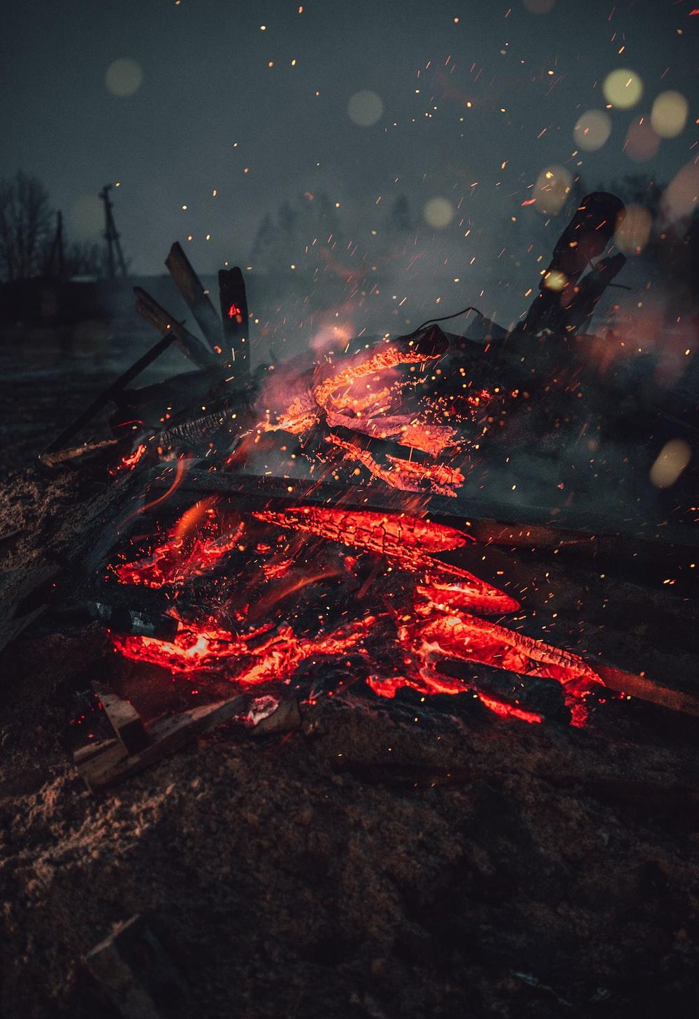 wood lumbers on fire