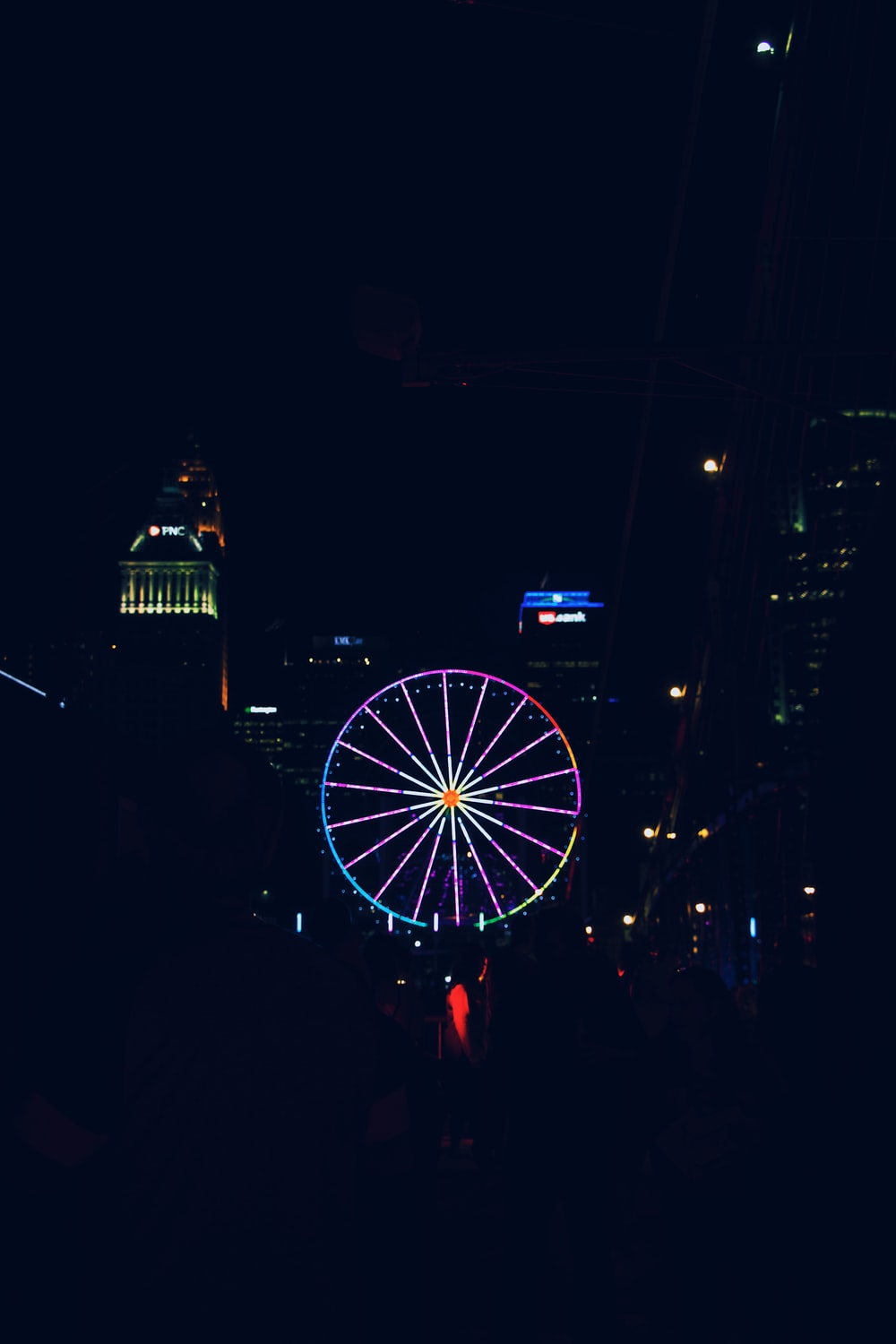 aerial photography of lighted Ferris wheel at night