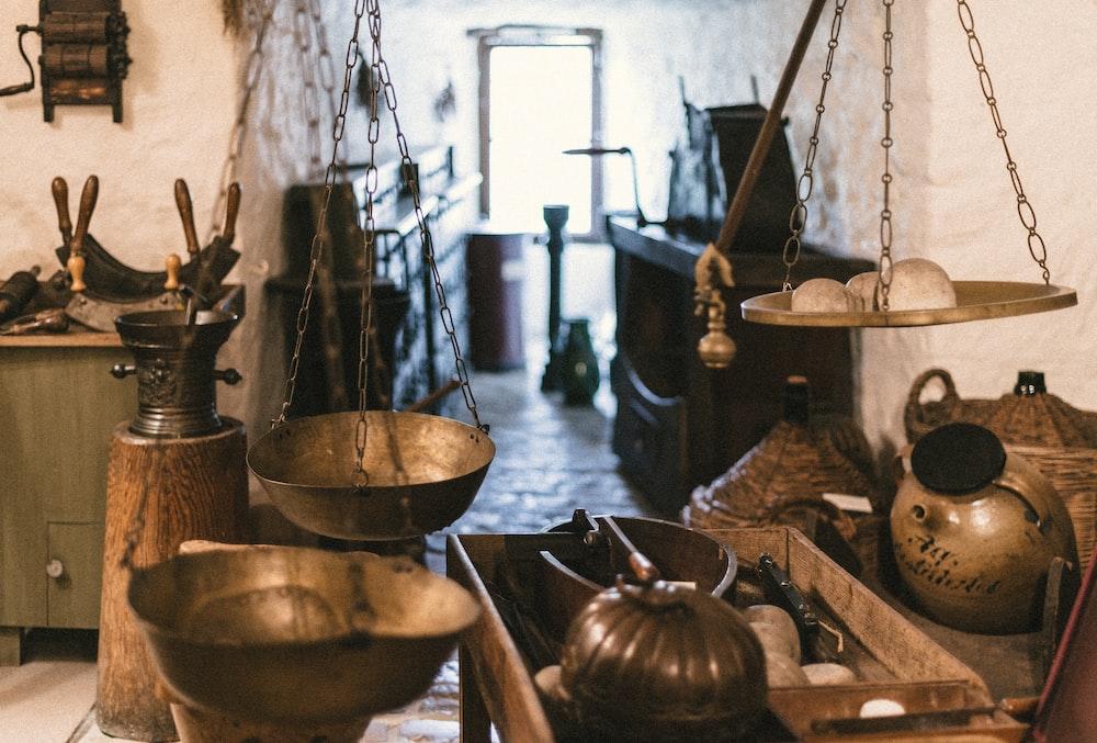 wooden tray beside pots