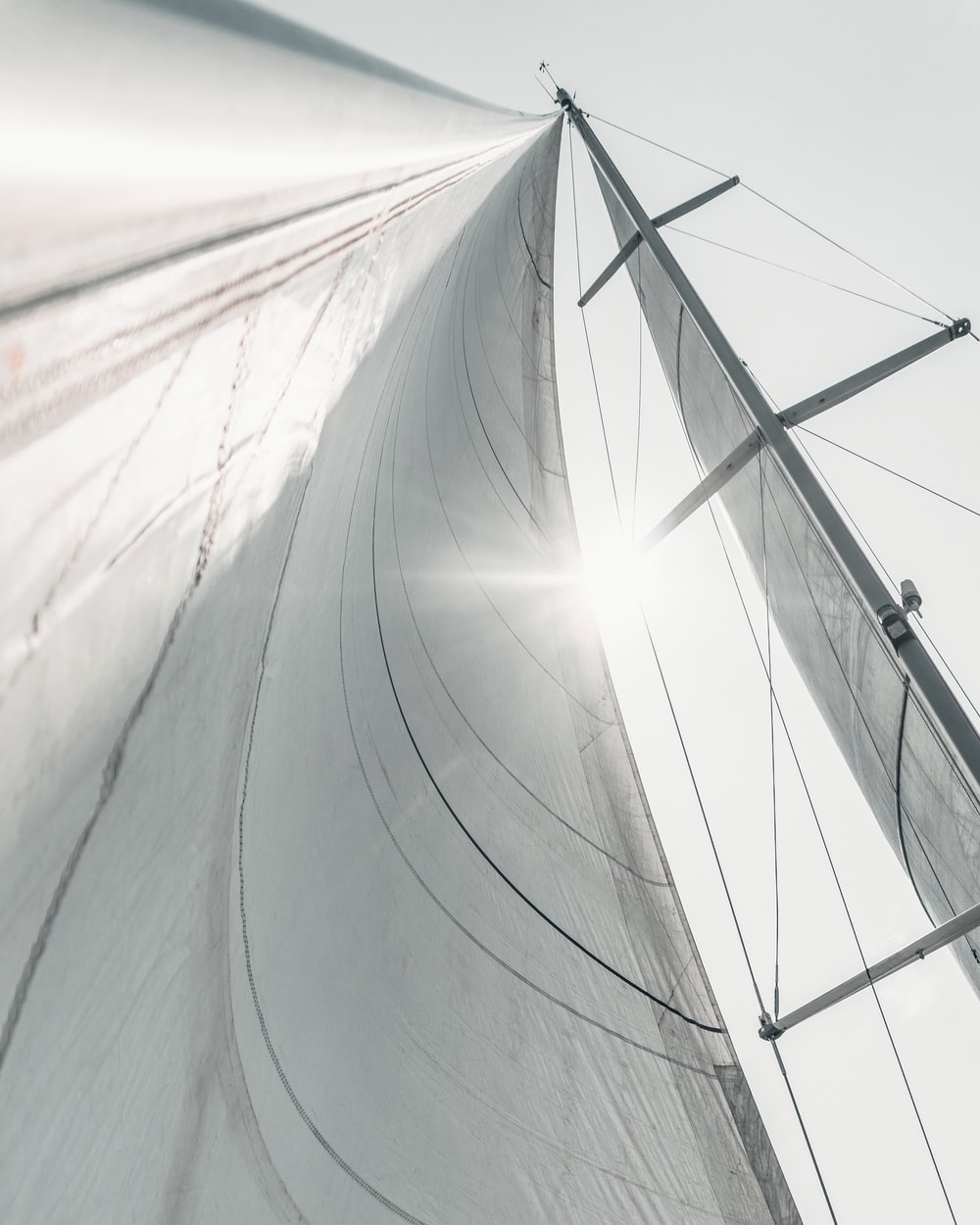 low-angle photograph of white sail