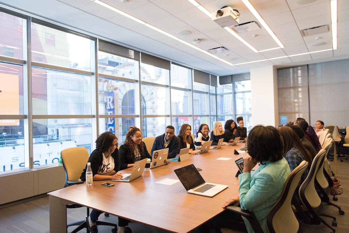 A busy boardroom