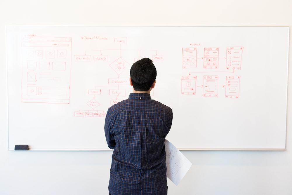 man standing near whiteboard