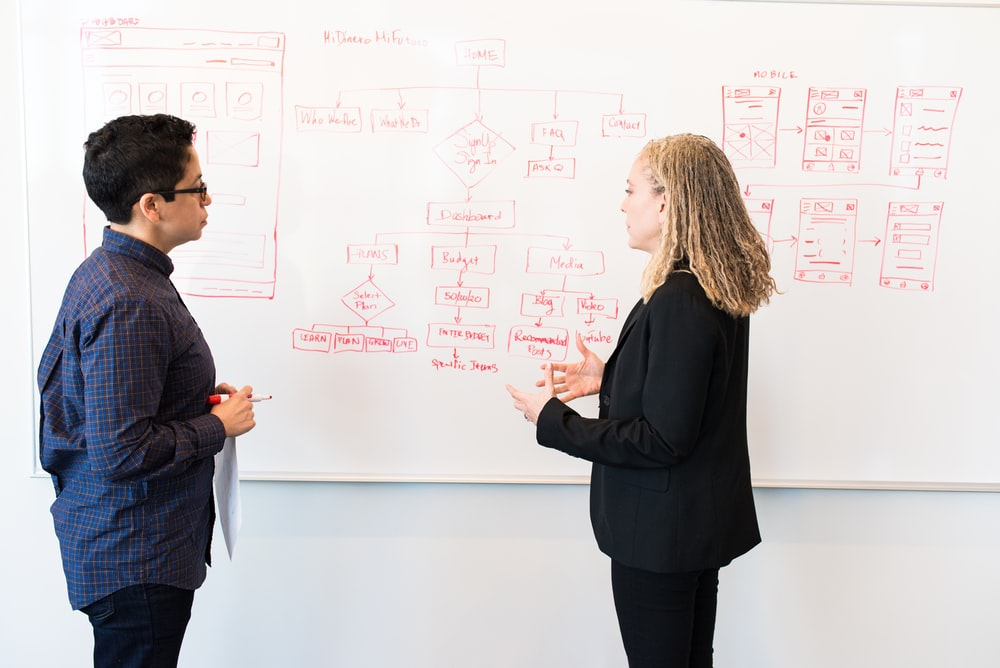 man and woman standing in front of whiteboard