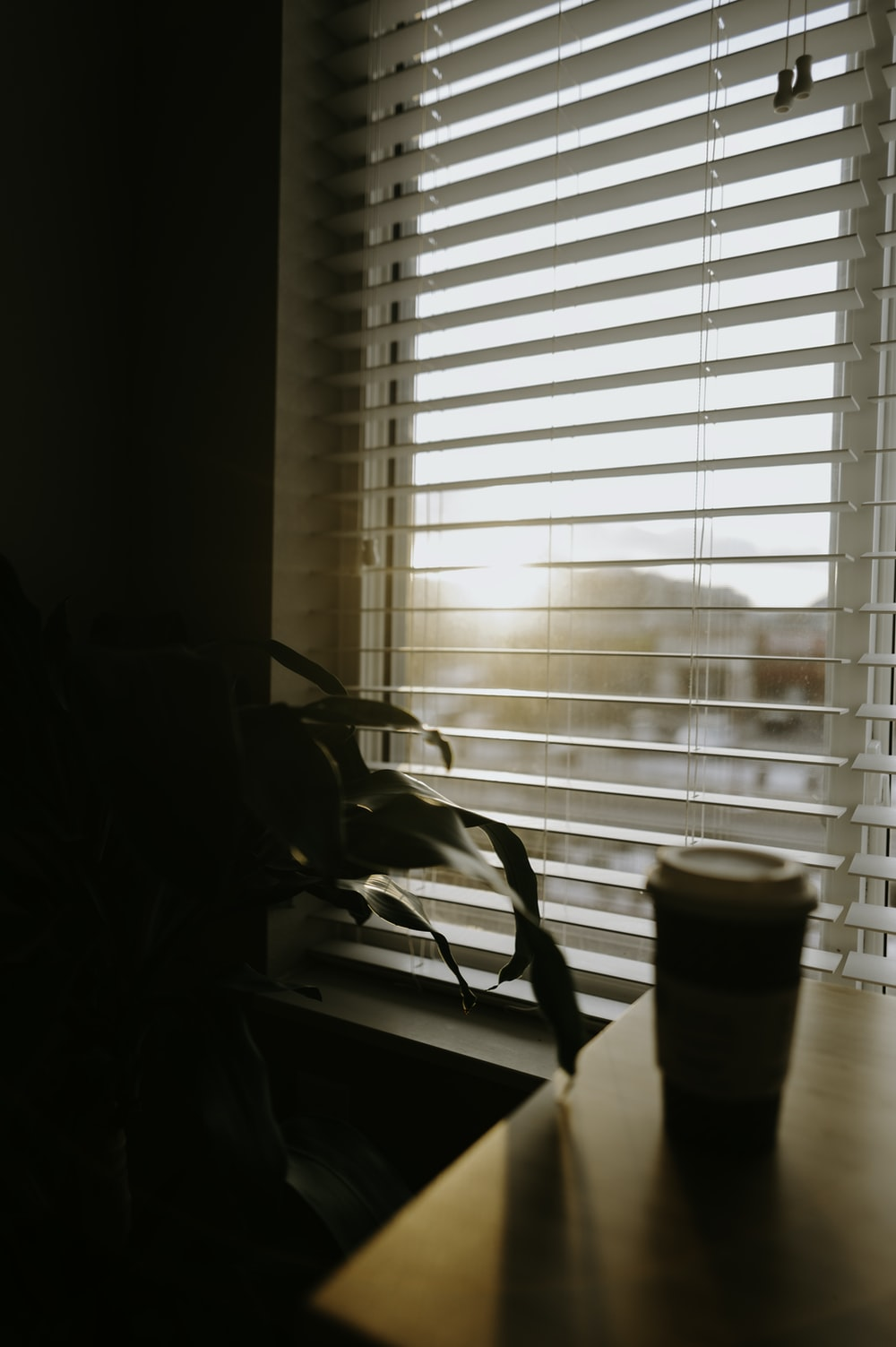 selective focus photography of white coffee cup beside window