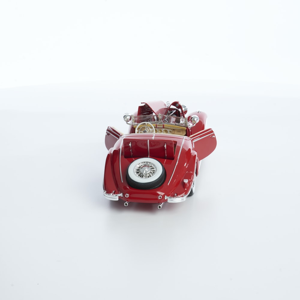 red vehicle scale model