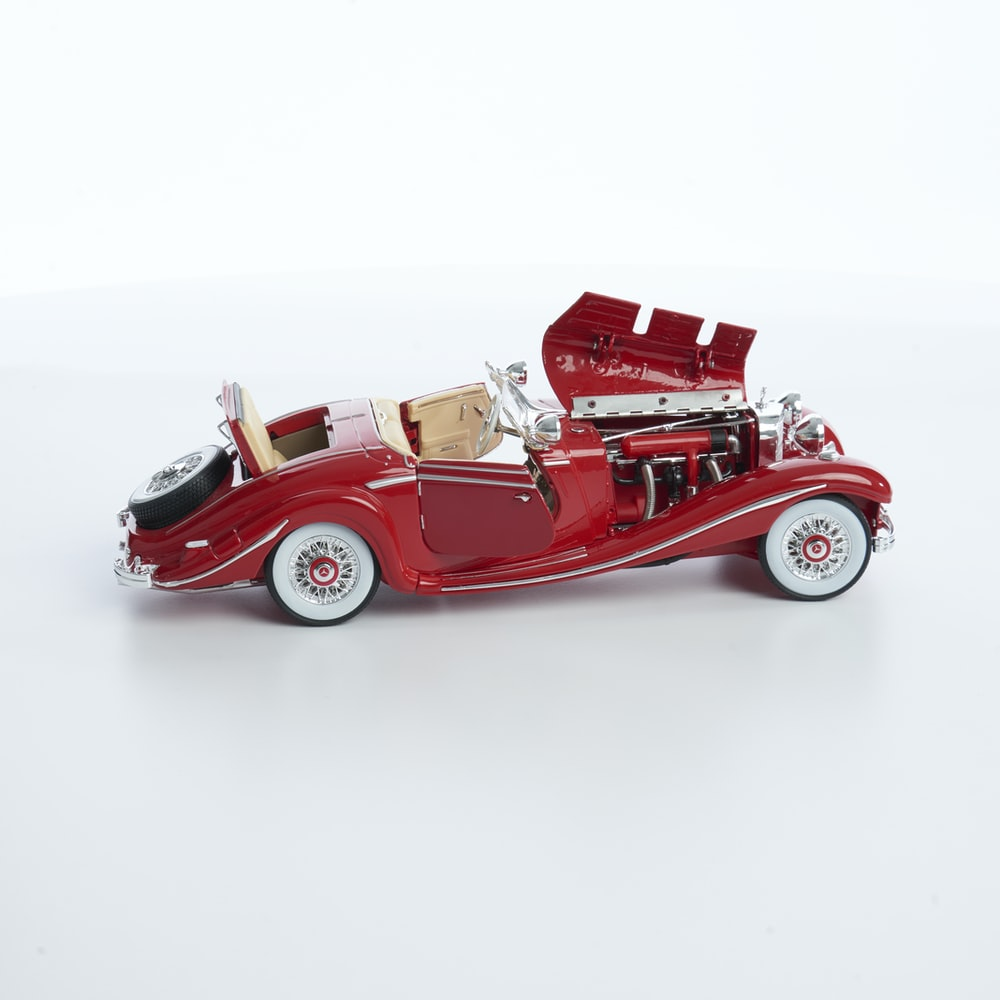 red hot rod coupe scale model