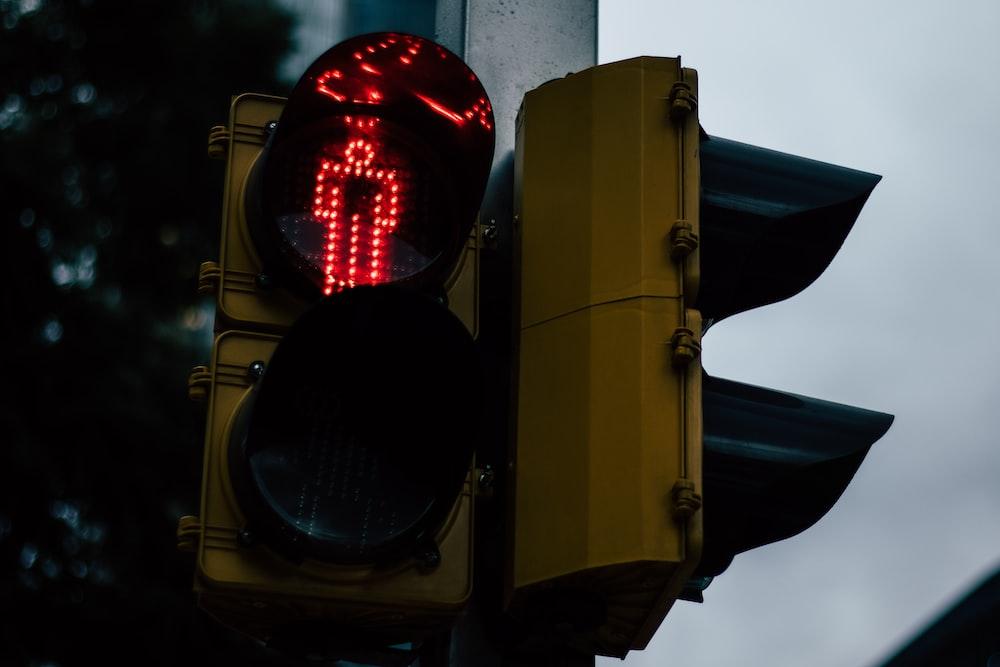 yellow traffic lights on stop