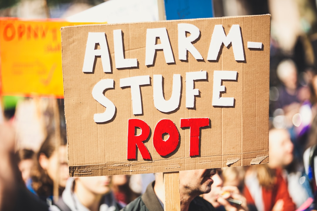 ALARMSTUFE ROT – RED ALERT. Fridays for future demonstration protest strike against climate change.