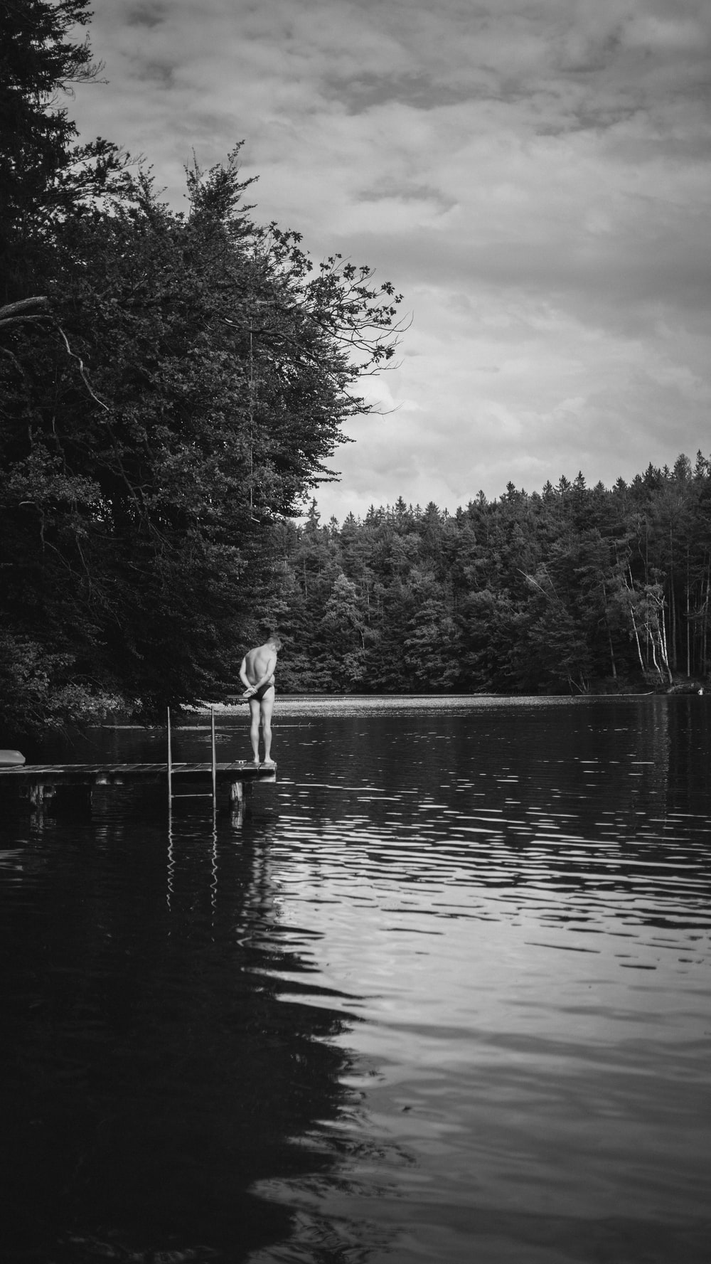 grayscale photo of trees near body of water under cloudy sky