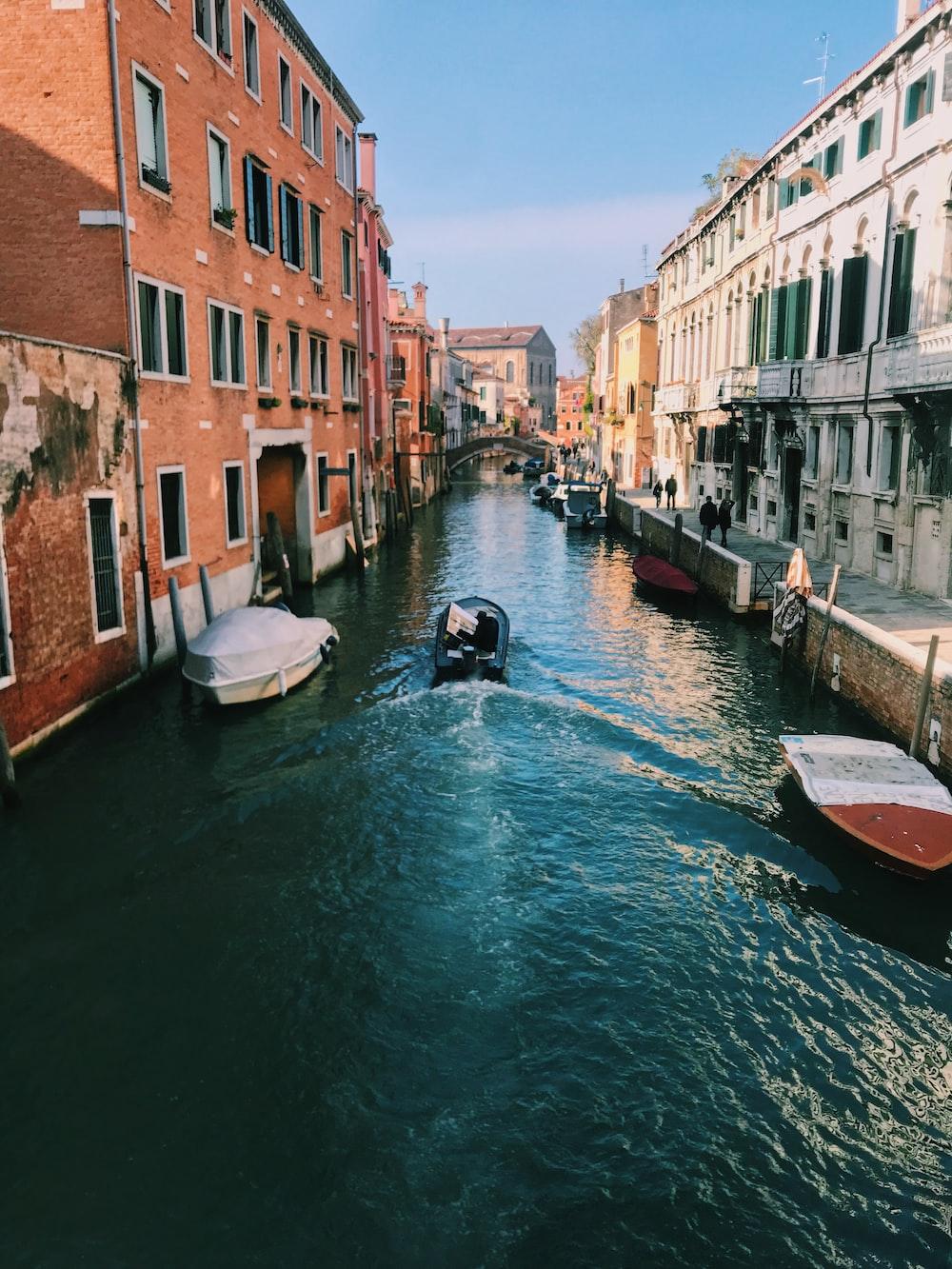 canal between buildings