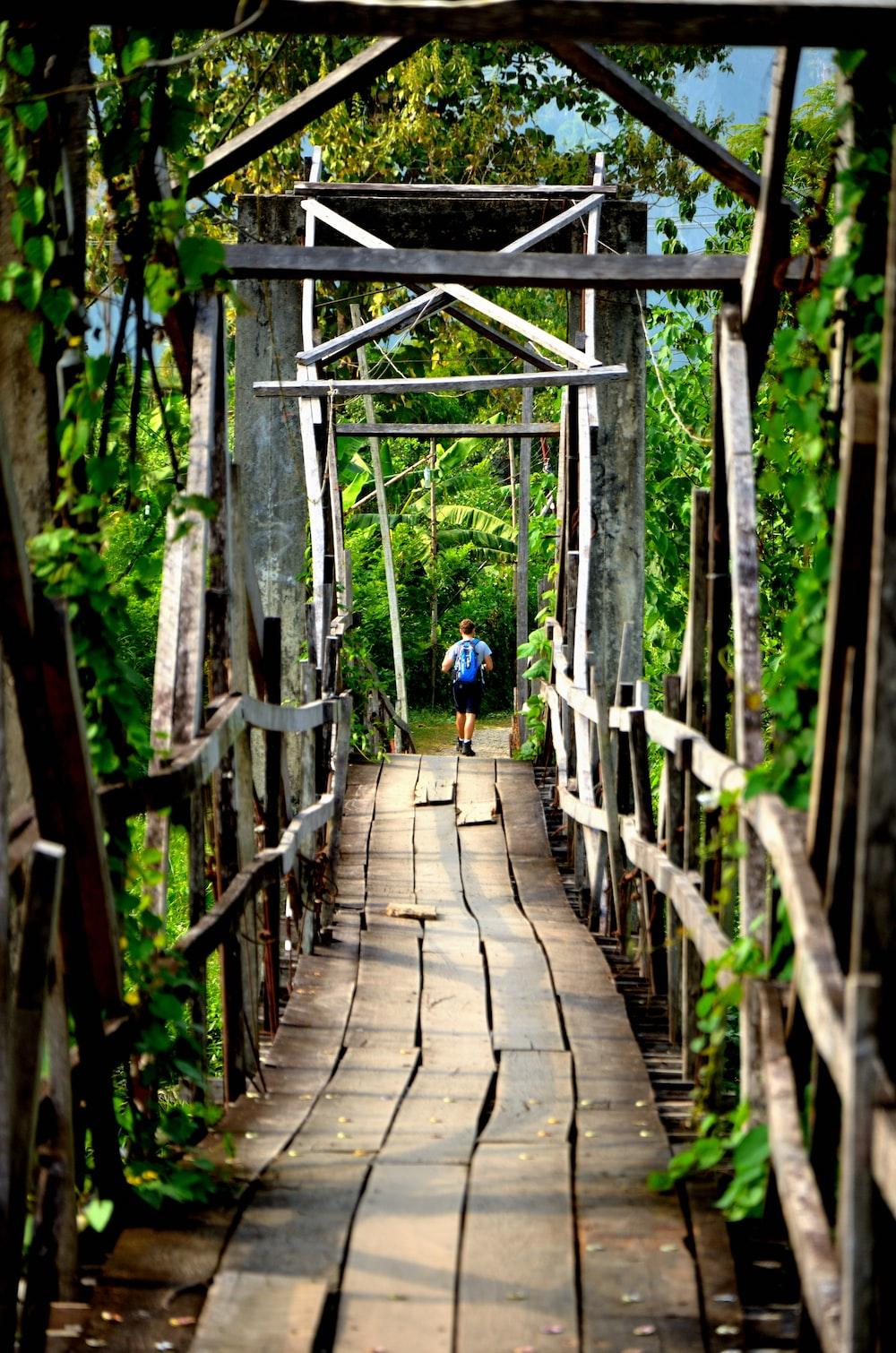 person walking on brown wood bridge during daytime