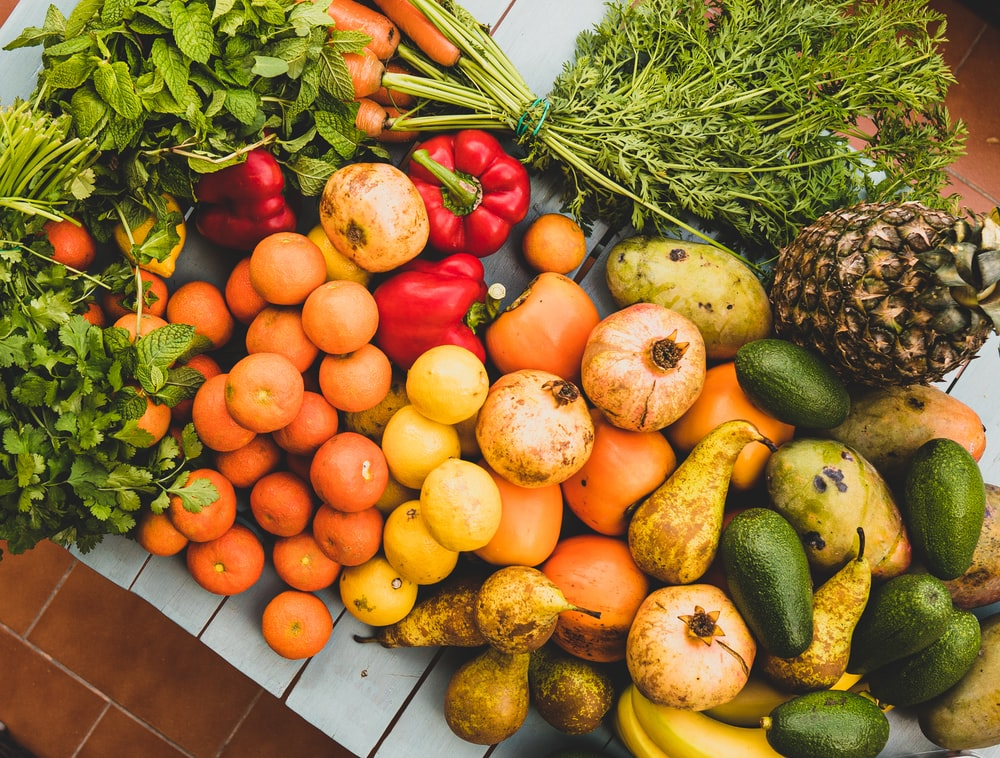 vegetables and fruits display
