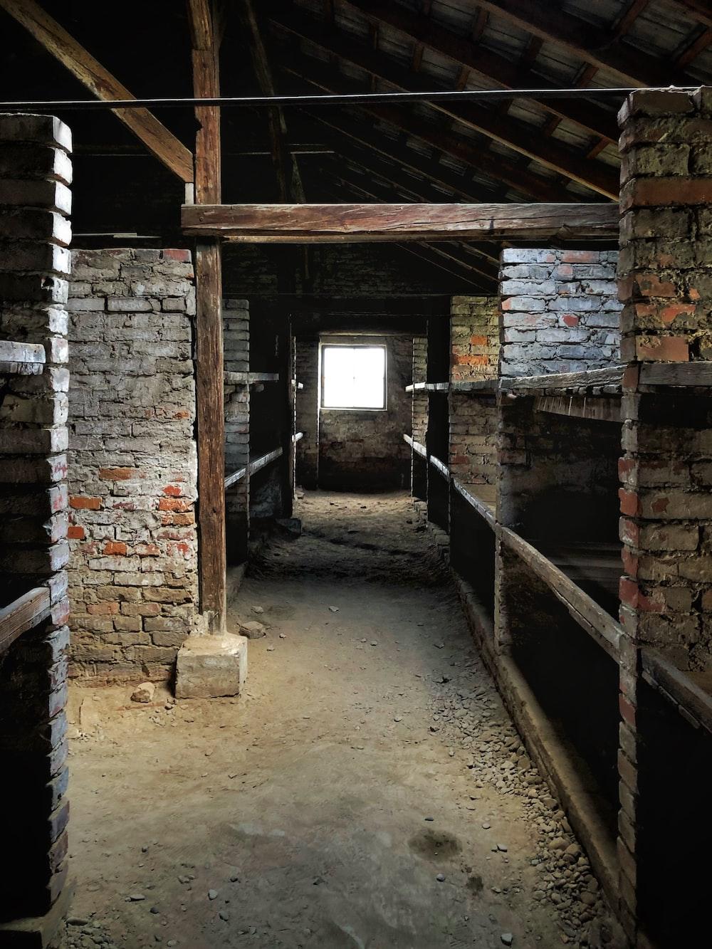 gray brick wall house