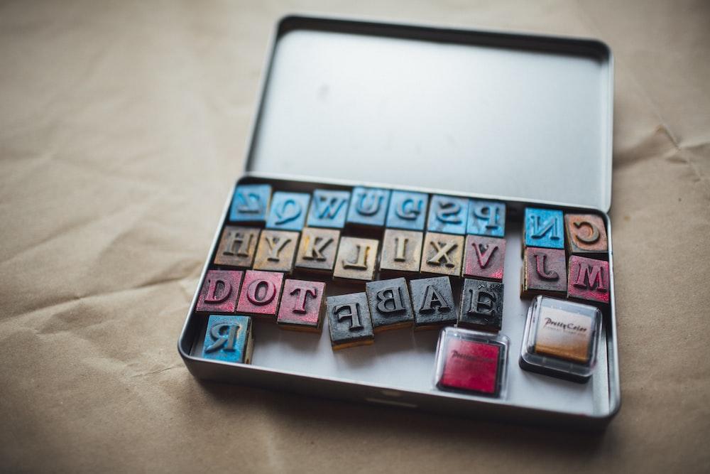 letter block set in box