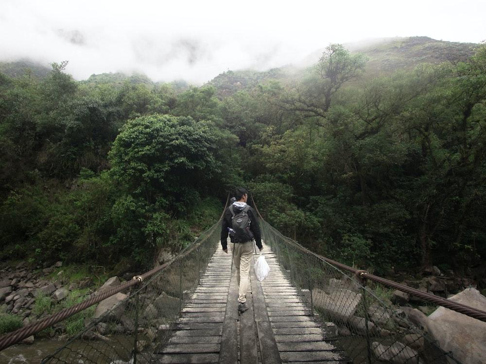 person walking on wooden bridge during daytime