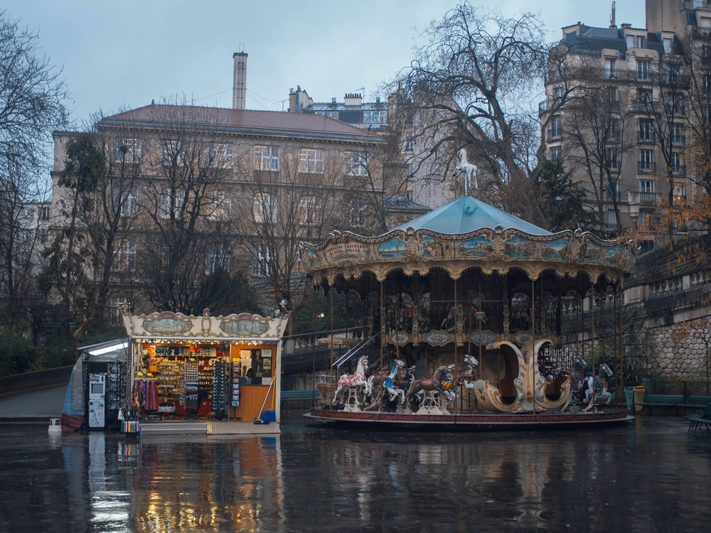 brown and blue carousel ride near body of water viewing historic buildings during daytime