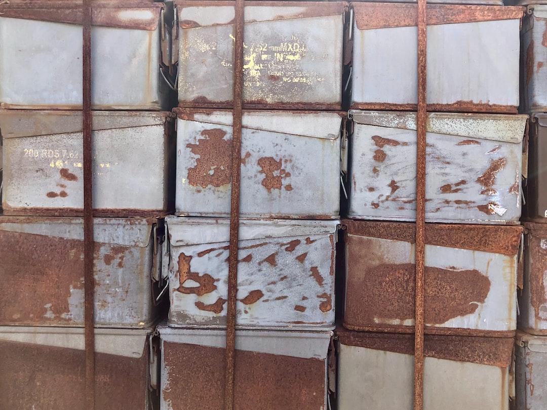 Rusty ammunition boxes.