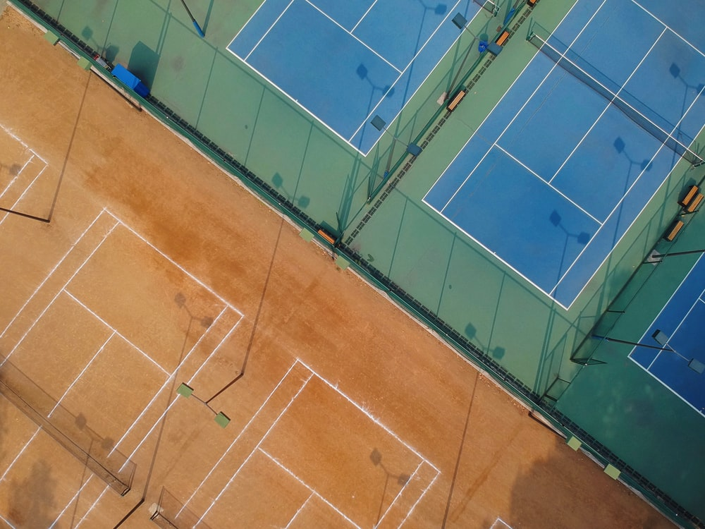 aerial photo of tennis courts