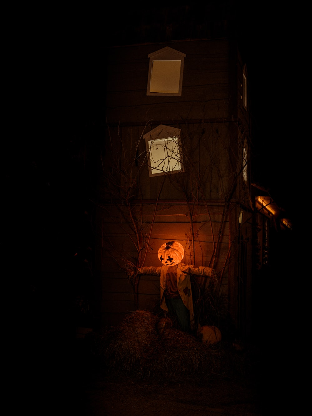 lit Jack-o-lantern decor
