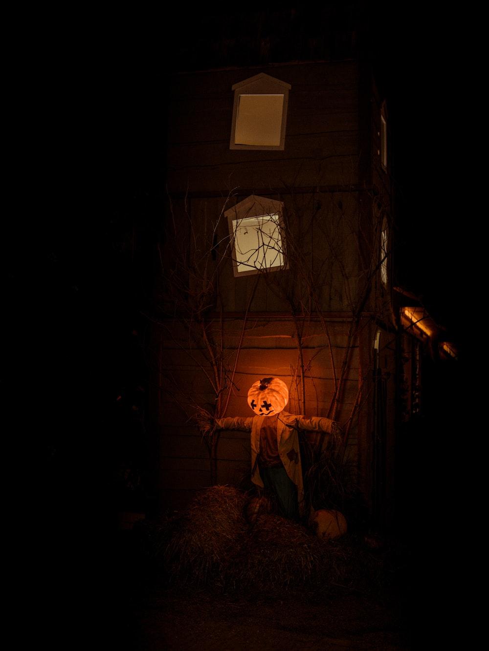 lit Jack-o-lantern decor