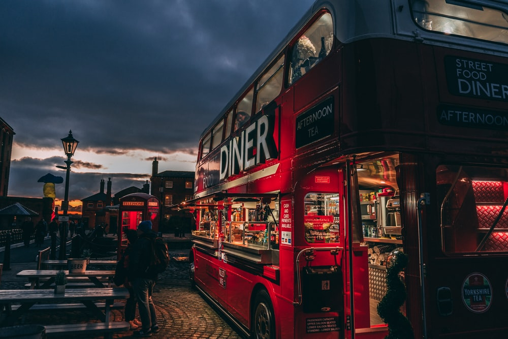 selective focus photography of red Diner bunk bus