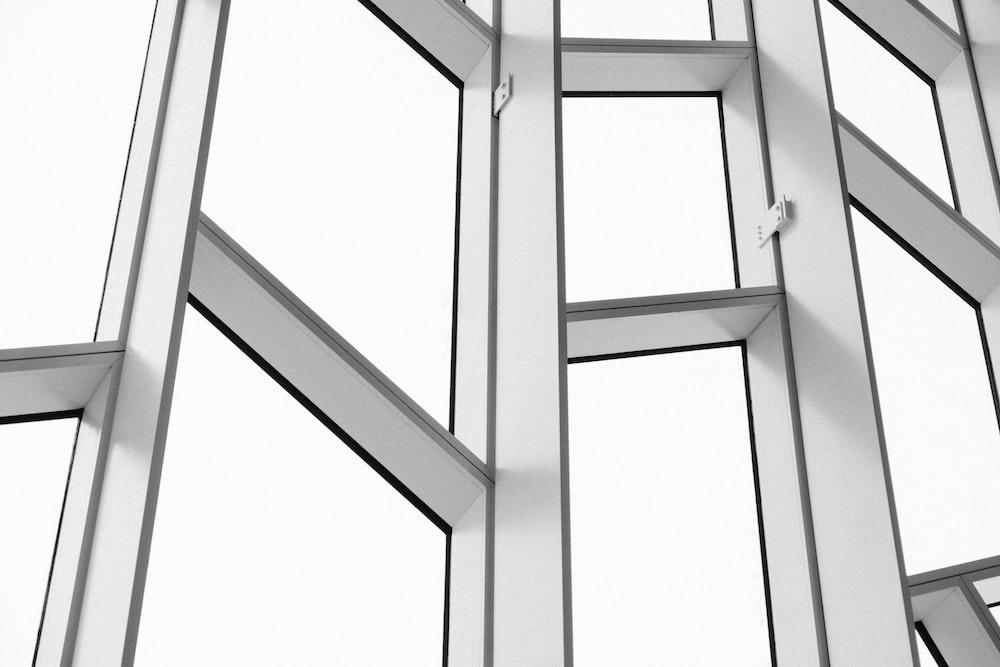 white framed glass building