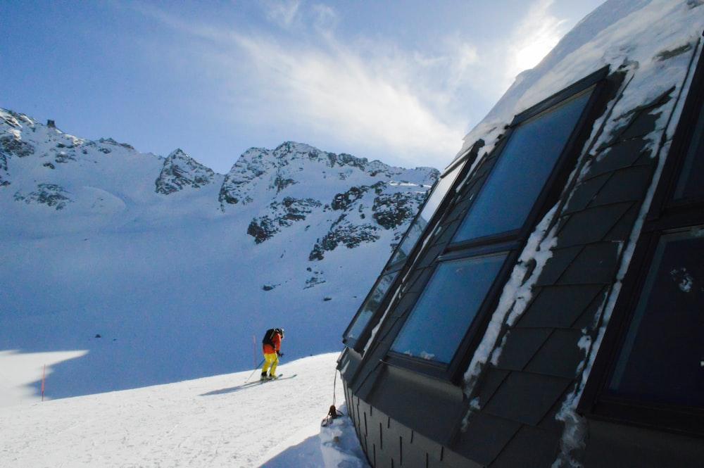 person riding snow ski