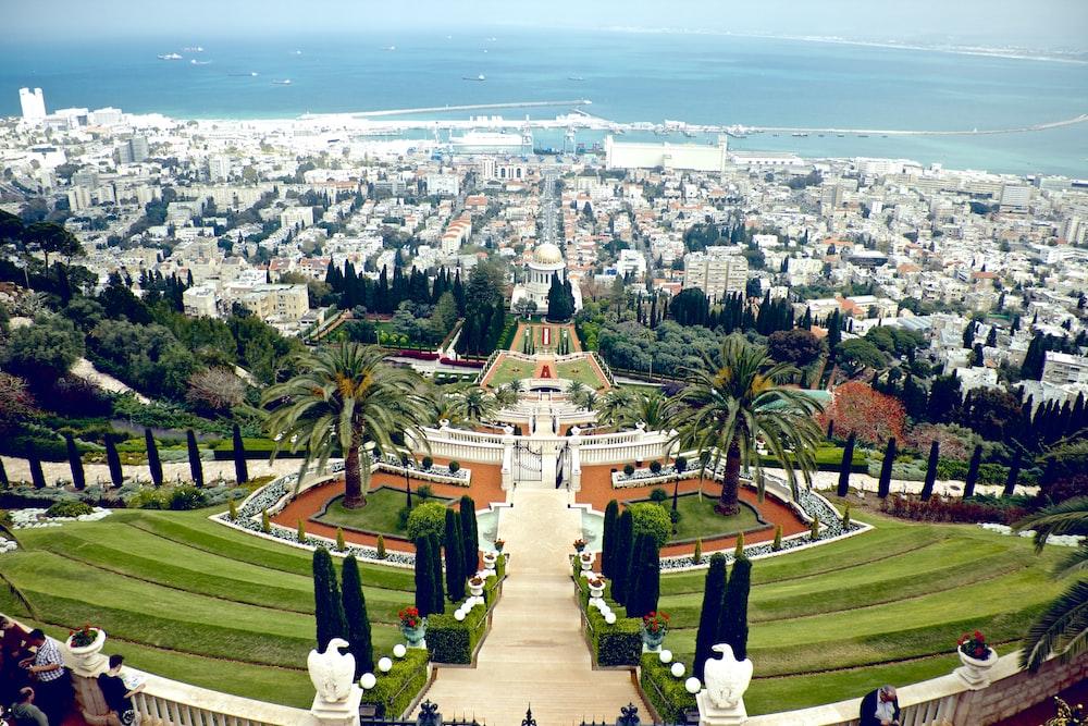 high angle photo of city