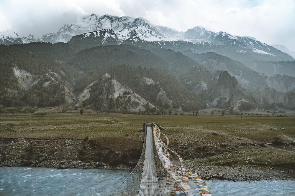 gray bridge near green mountain