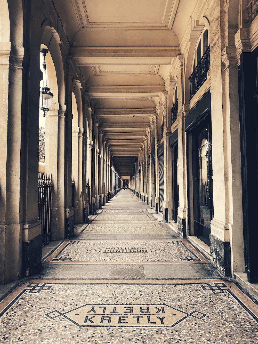 empty hallway between columns