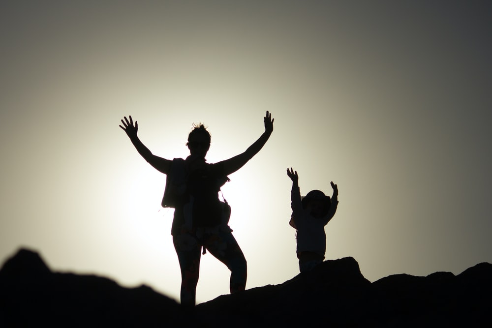 silhouette photo of two person