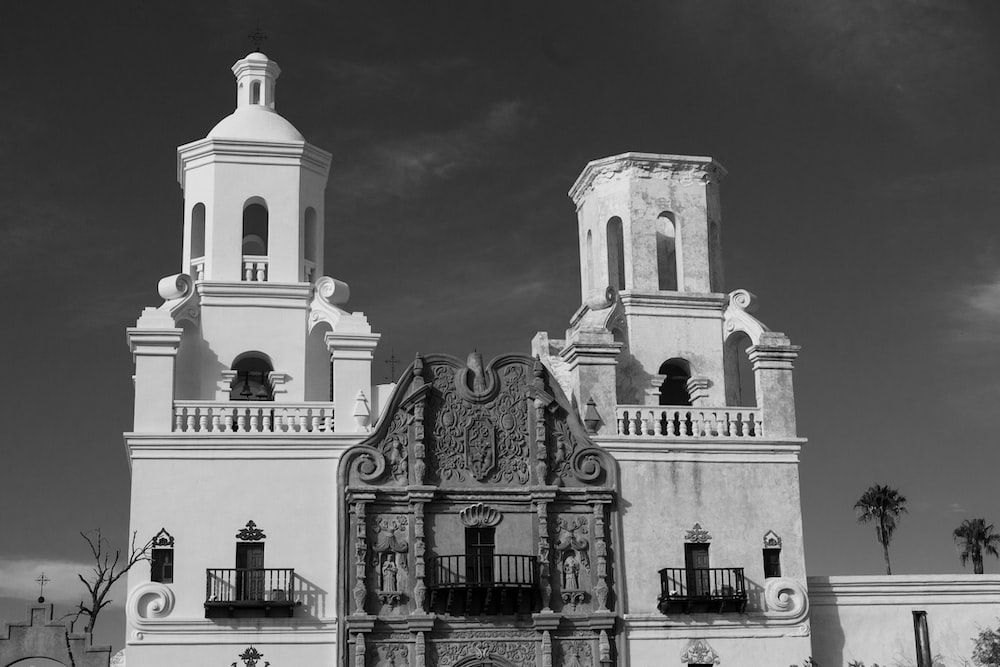 grayscale photography of building during daytime