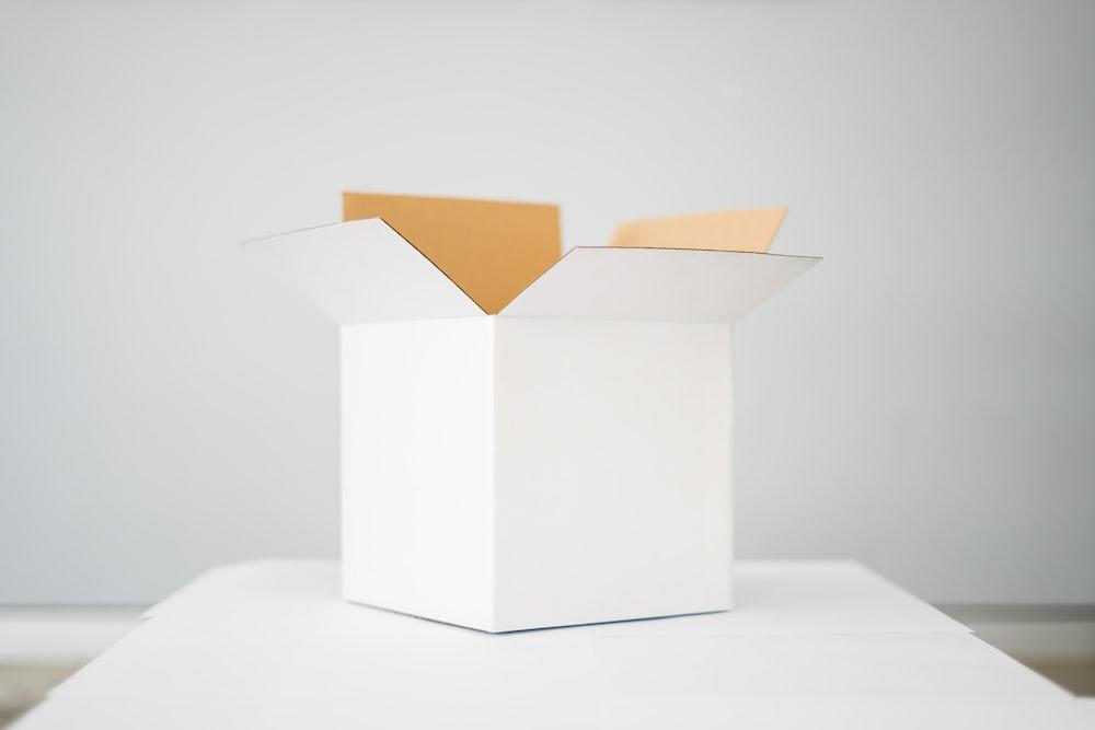 white box on white table
