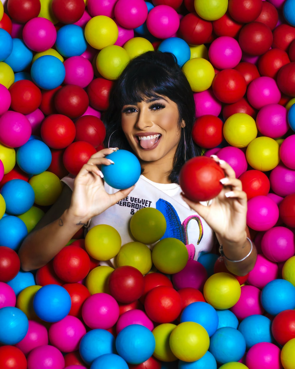 woman soaked on ball pit