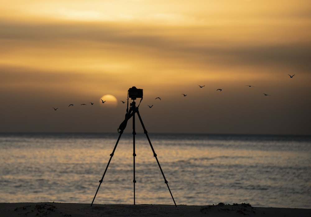 tripod at beach