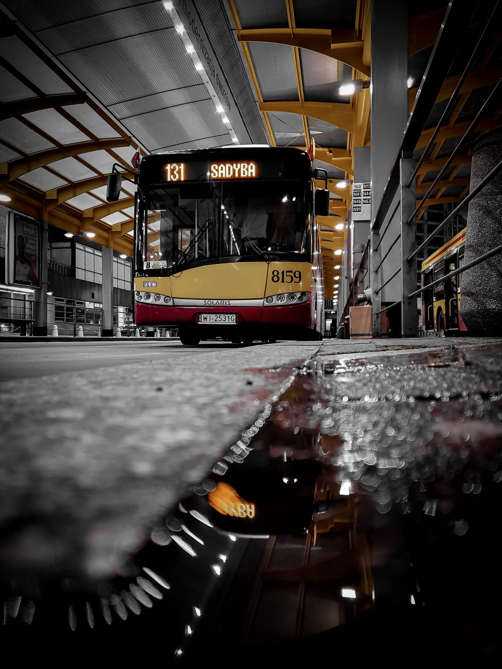 yellow and red bus