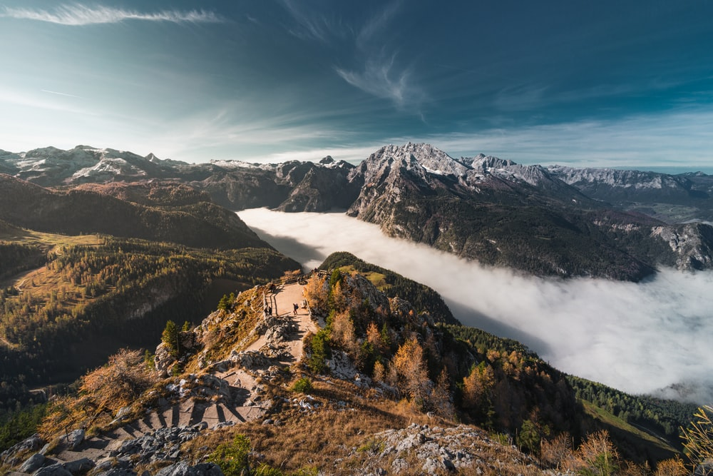 aerial photography of sea of clouds in the mountains
