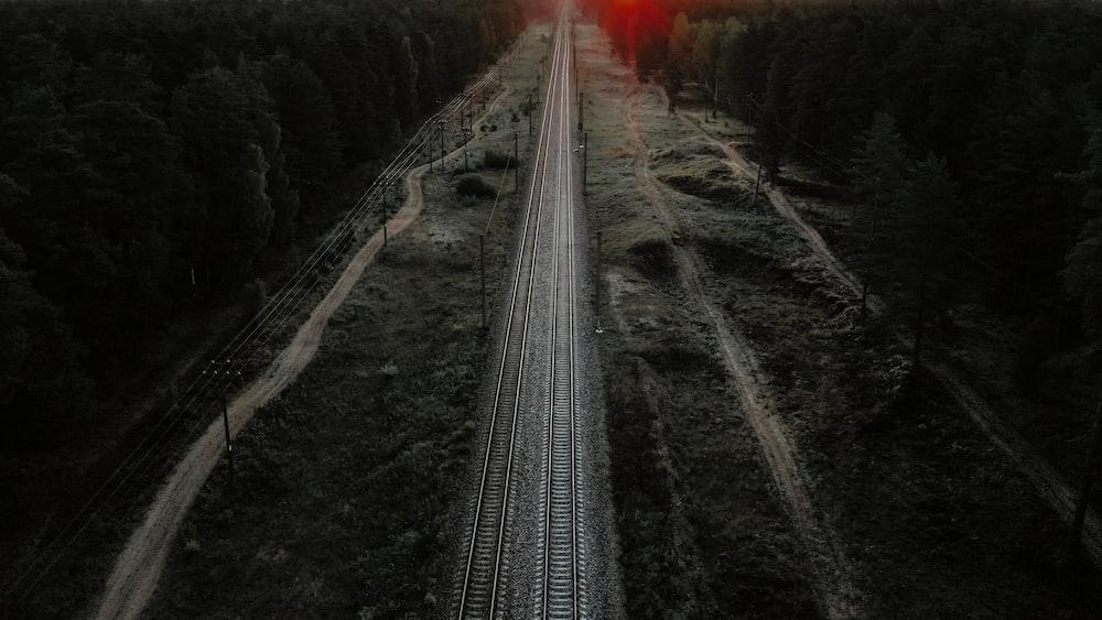 aerial photo of train rails