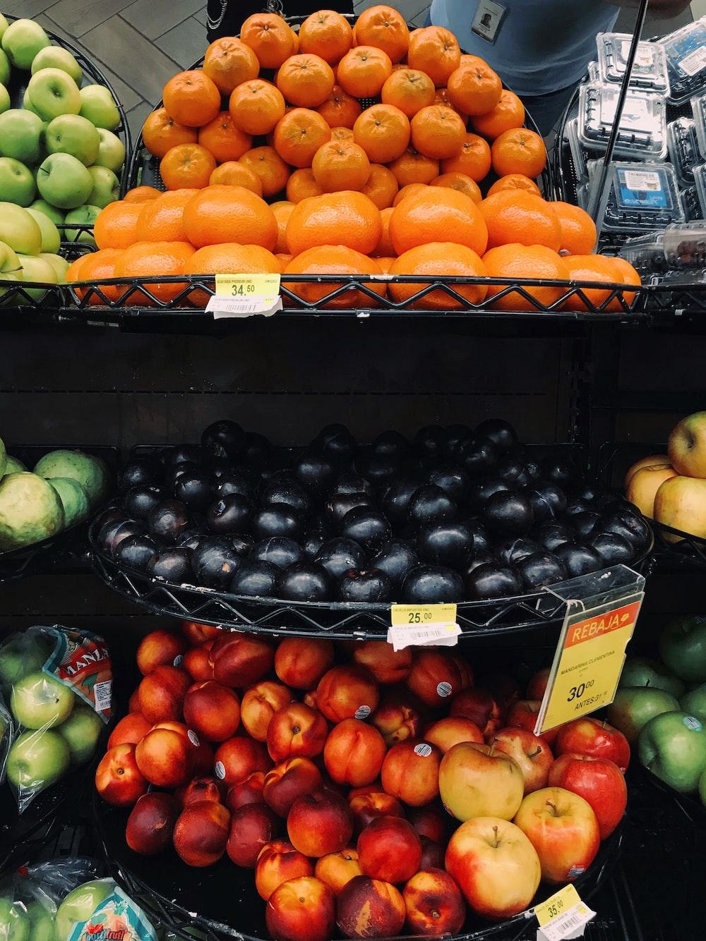 orange, black, and red fruits