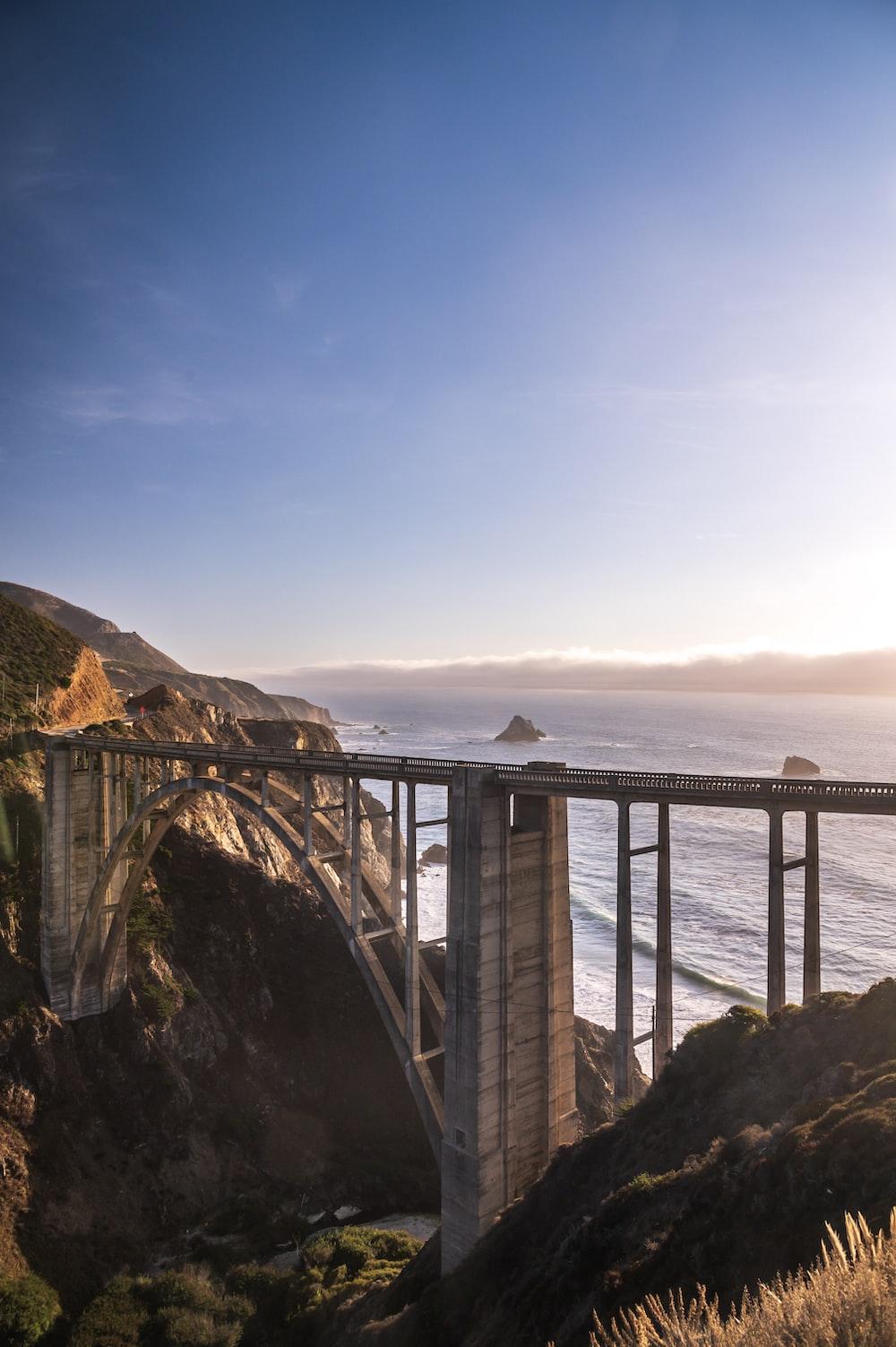 concrete bridge near sea