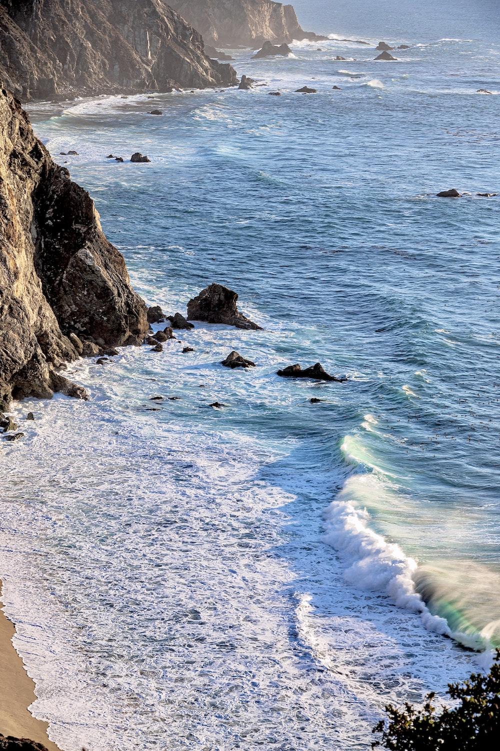beach line beside cliff