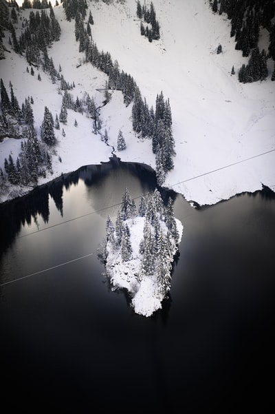 Snow covered island in the middle of a dark lake.