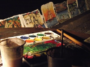 multicolored painting palette